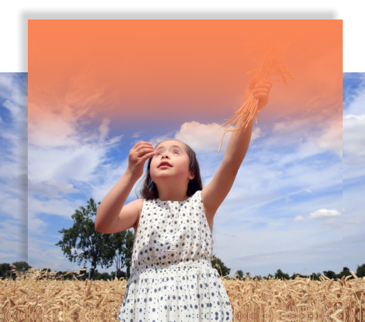 little girl playing in the corn field