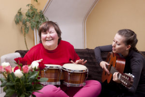 disabled young woman playing musical instruments